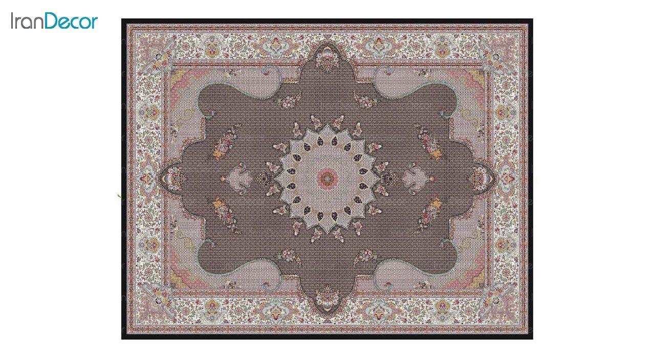 تصویر فرش ماشینی 1200 شانه کشمیر طرح ماهی درباری مشکی