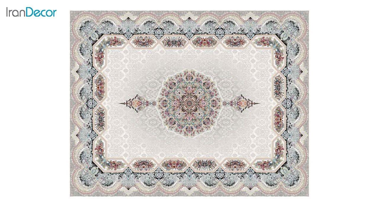 تصویر فرش ماشینی 1200 شانه کشمیر طرح هالیدی کرم