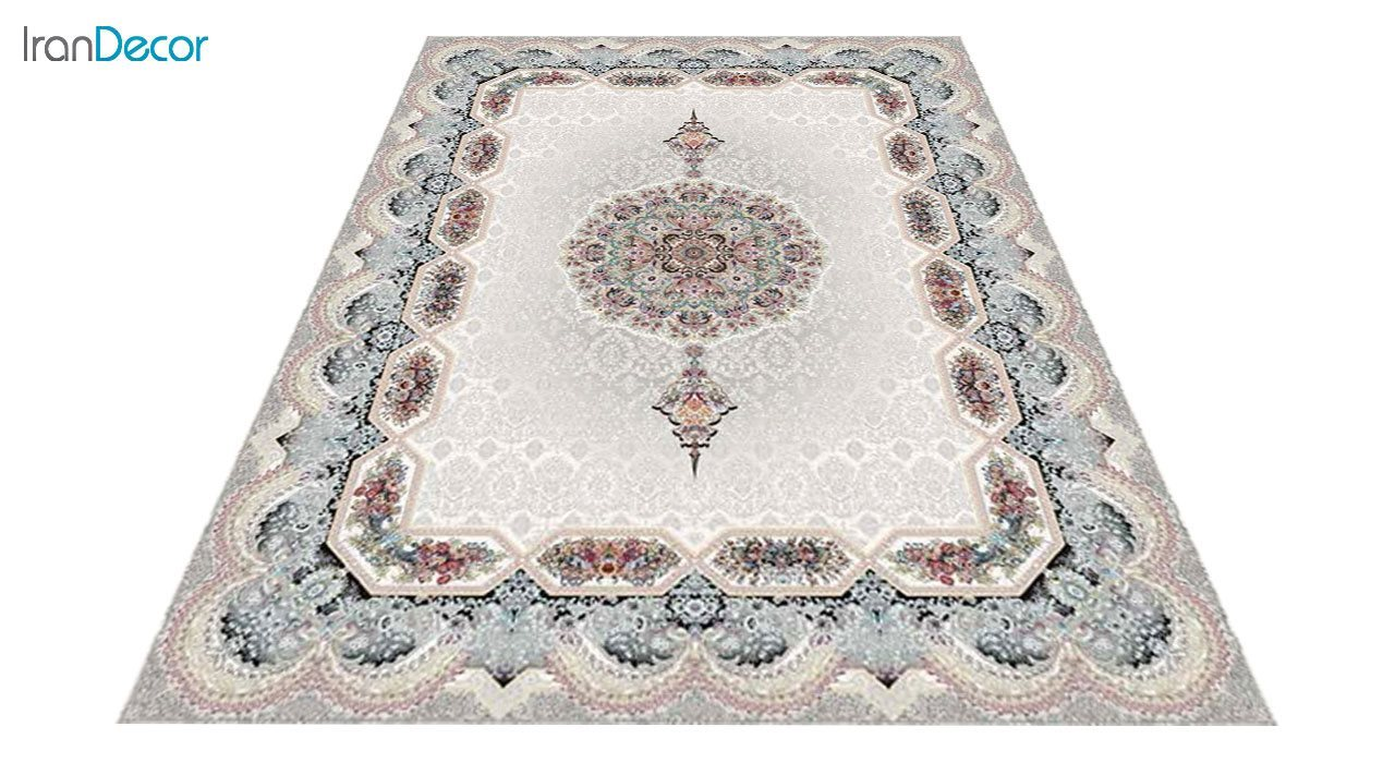 عکس فرش ماشینی 1200 شانه کشمیر طرح هالیدی کرم