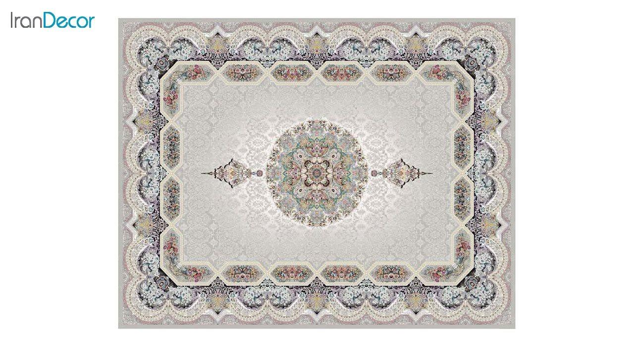 تصویر فرش ماشینی 1200 شانه کشمیر طرح هالیدی نقره ای
