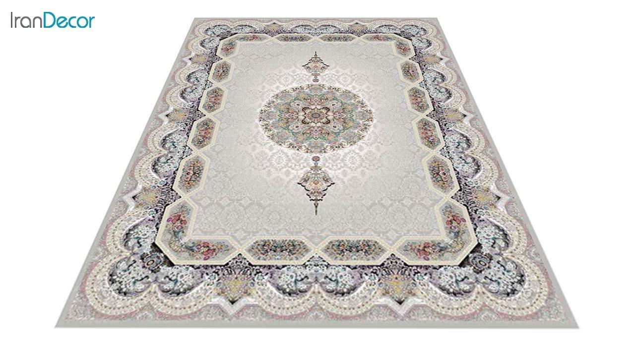 عکس فرش ماشینی 1200 شانه کشمیر طرح هالیدی نقره ای