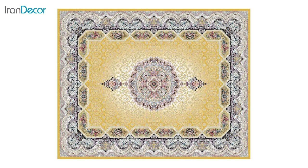 تصویر فرش ماشینی 1200 شانه کشمیر طرح هالیدی طلایی