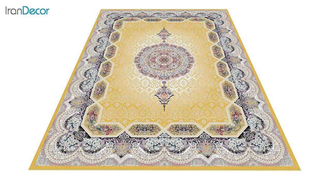 عکس فرش ماشینی 1200 شانه کشمیر طرح هالیدی طلایی