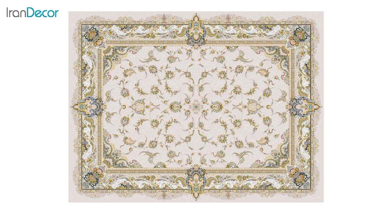 تصویر فرش ماشینی 1200 شانه گل برجسته کشمیر طرح سحر بژ