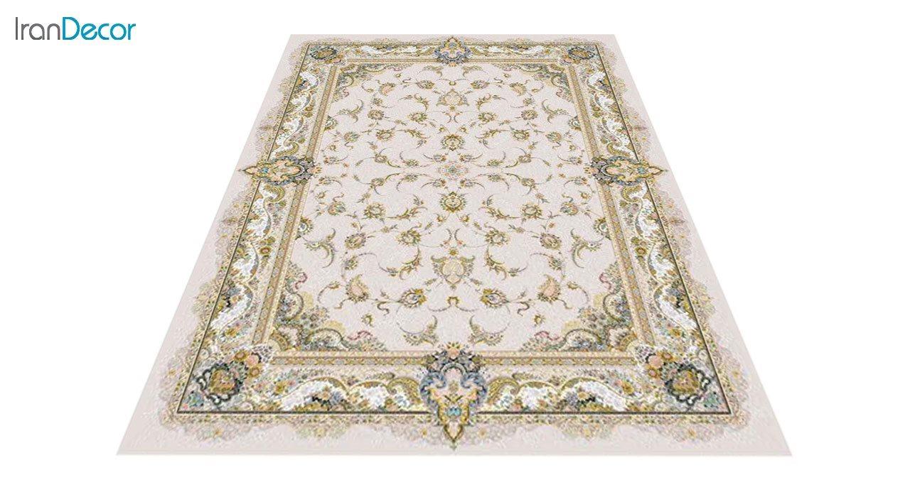 عکس فرش ماشینی 1200 شانه گل برجسته کشمیر طرح سحر بژ