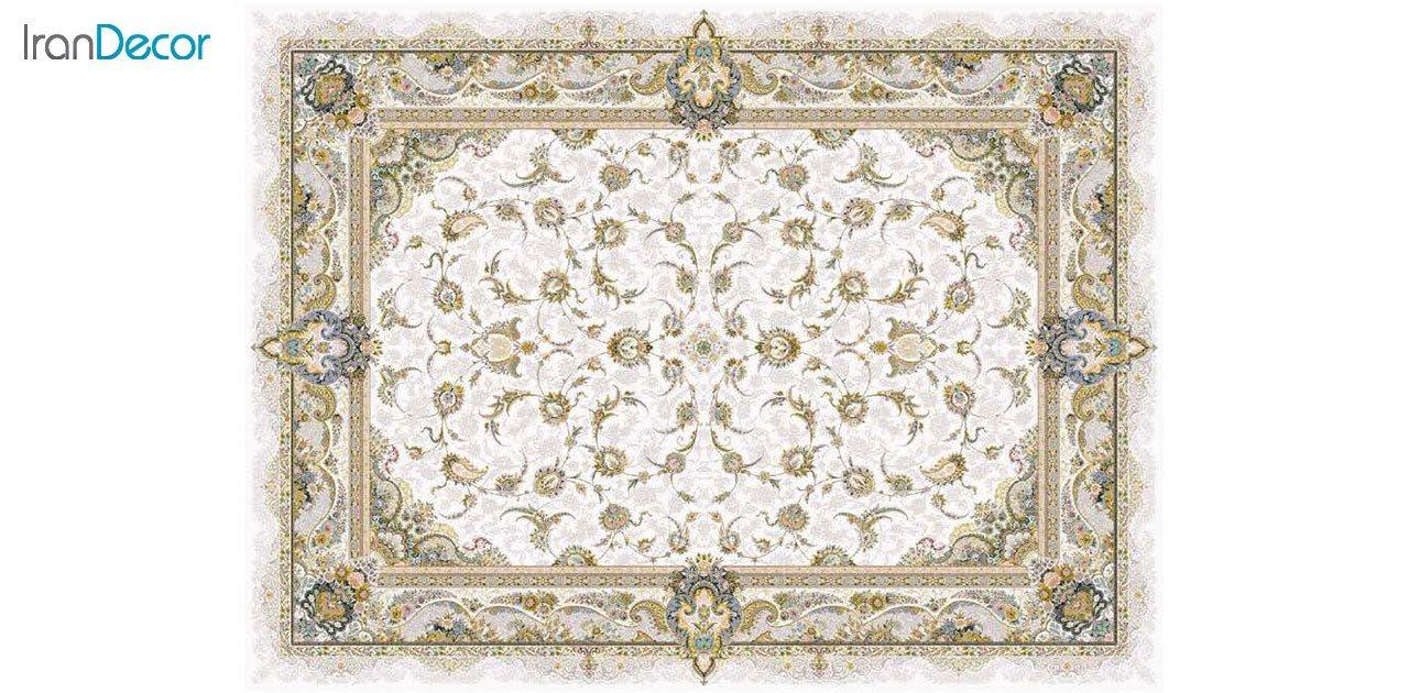 تصویر فرش ماشینی 1200 شانه گل برجسته کشمیر طرح سحر کرم