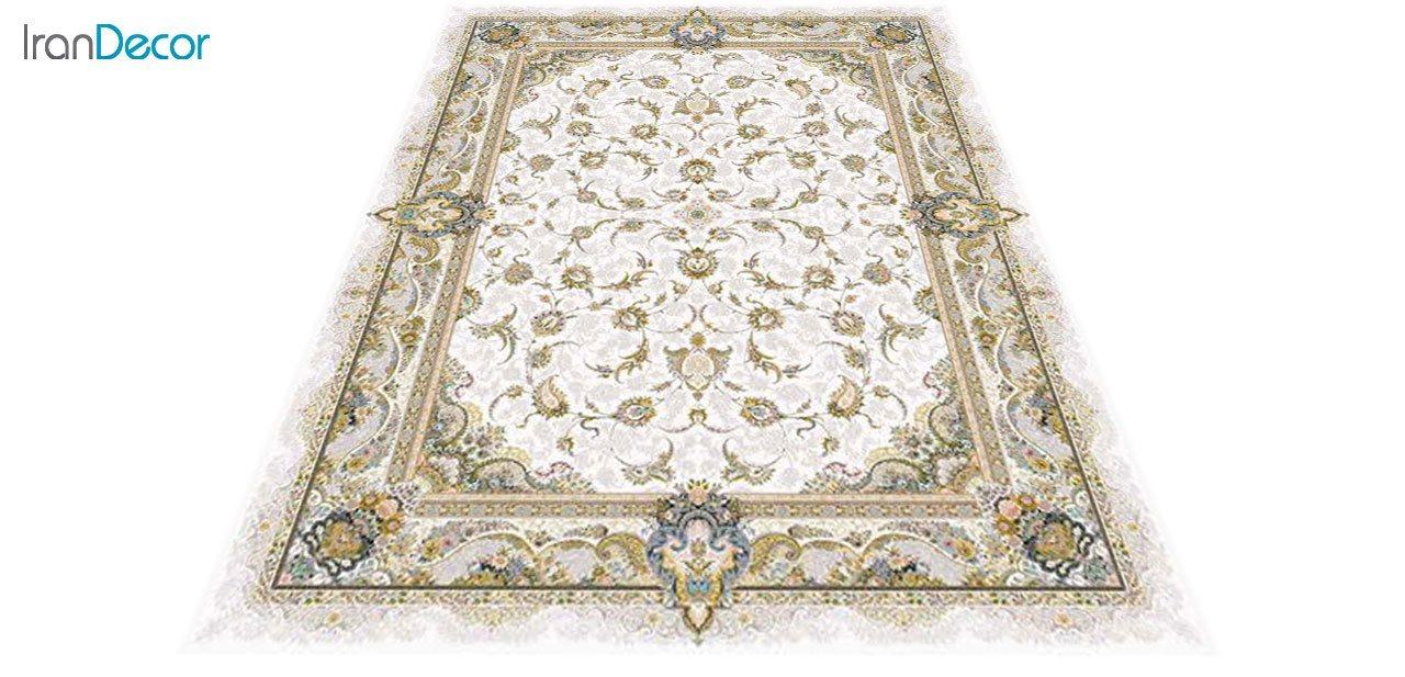 عکس فرش ماشینی 1200 شانه گل برجسته کشمیر طرح سحر کرم