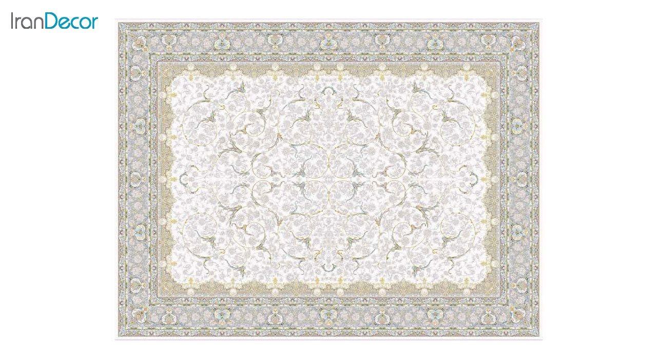 تصویر فرش ماشینی 1200 شانه گل برجسته کشمیر طرح تک کرم