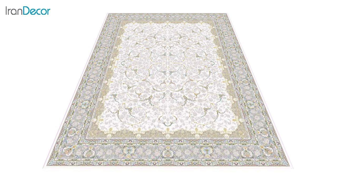 عکس فرش ماشینی 1200 شانه گل برجسته کشمیر طرح تک کرم