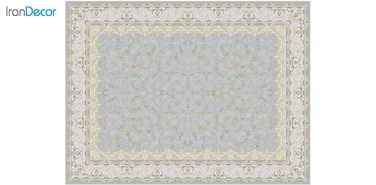 تصویر فرش ماشینی 1200 شانه گل برجسته کشمیر طرح تک نقره ای