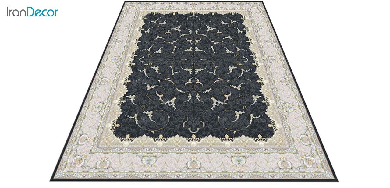 عکس فرش ماشینی 1200 شانه گل برجسته کشمیر طرح تک خاکستری