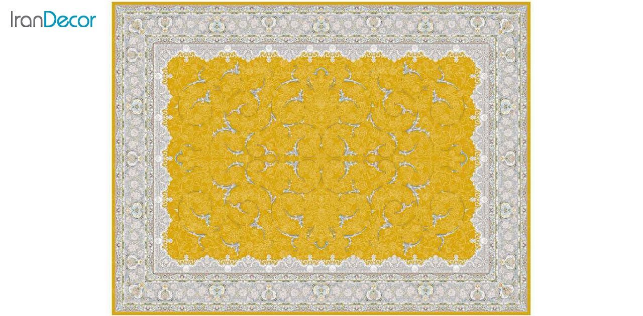 تصویر فرش ماشینی 1200 شانه گل برجسته کشمیر طرح تک طلایی