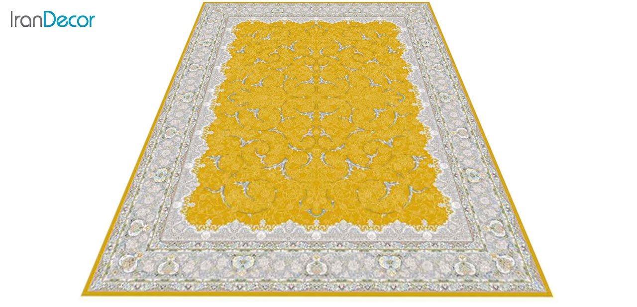 عکس فرش ماشینی 1200 شانه گل برجسته کشمیر طرح تک طلایی