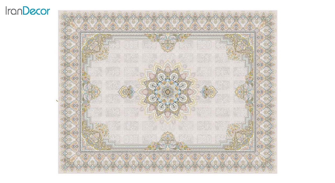 تصویر فرش ماشینی 1200 شانه گل برجسته کشمیر طرح خاتون بژ