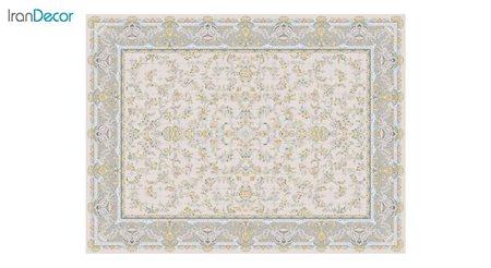تصویر فرش ماشینی 1200 شانه گل برجسته کشمیر طرح ارغوان بژ