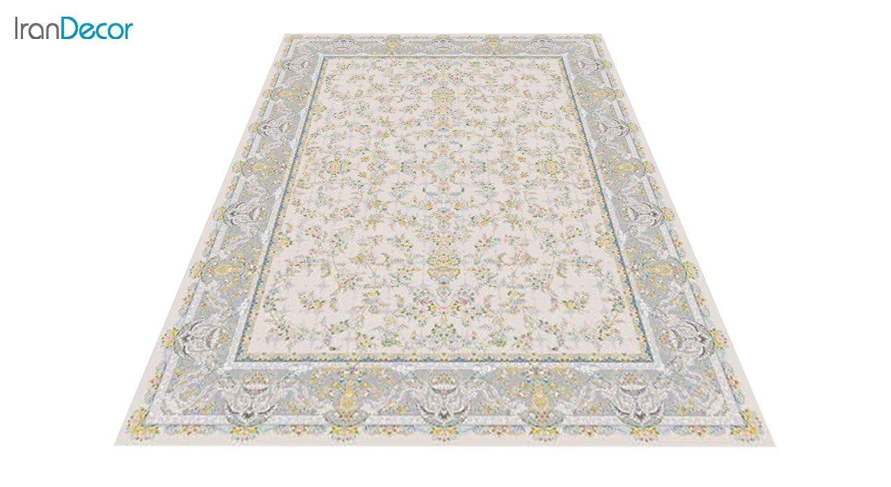 عکس فرش ماشینی 1200 شانه گل برجسته کشمیر طرح ارغوان بژ