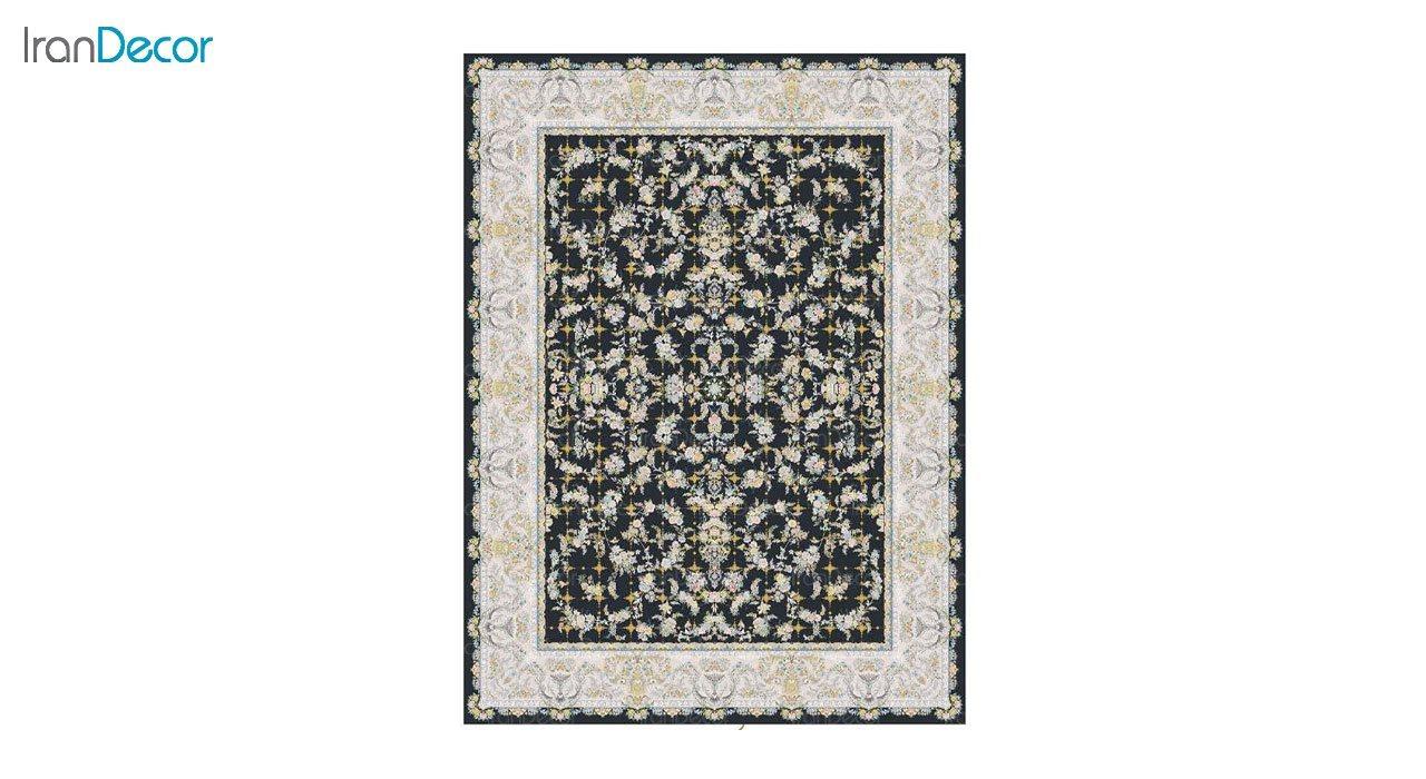 تصویر فرش ماشینی 1200 شانه گل برجسته کشمیر طرح ارغوان زغالی