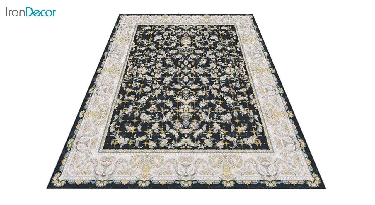 عکس فرش ماشینی 1200 شانه گل برجسته کشمیر طرح ارغوان زغالی