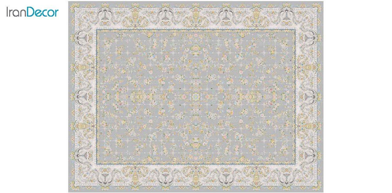تصویر فرش ماشینی 1200 شانه گل برجسته کشمیر طرح ارغوان نقره ای