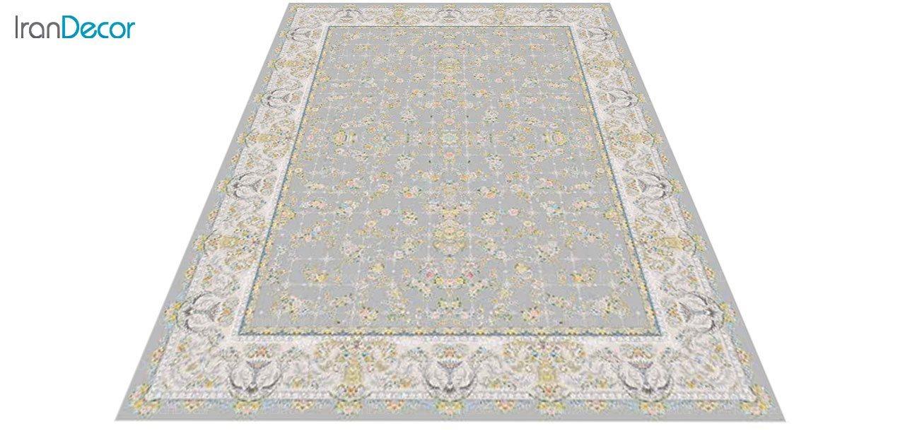 عکس فرش ماشینی 1200 شانه گل برجسته کشمیر طرح ارغوان نقره ای