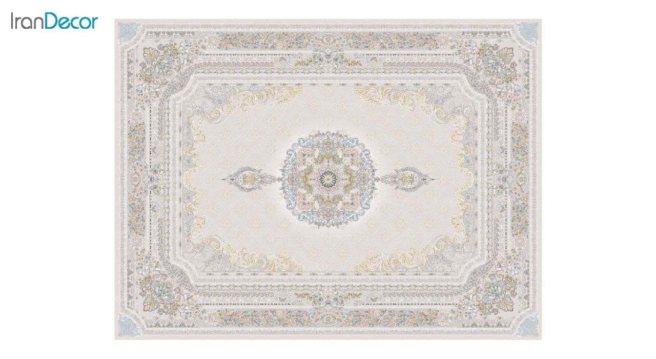 تصویر فرش ماشینی 1200 شانه گل برجسته کشمیر طرح میلانو بژ