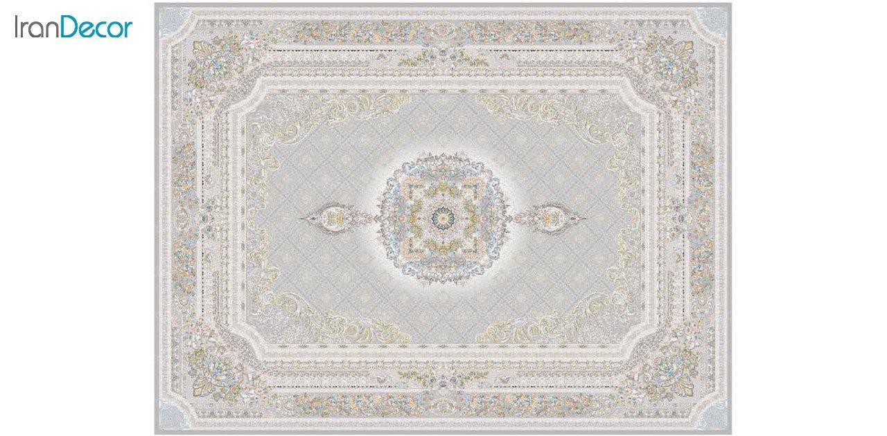 تصویر فرش ماشینی 1200 شانه گل برجسته کشمیر طرح میلانو نقره ای