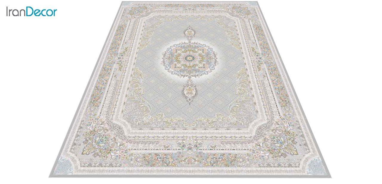 عکس فرش ماشینی 1200 شانه گل برجسته کشمیر طرح میلانو نقره ای
