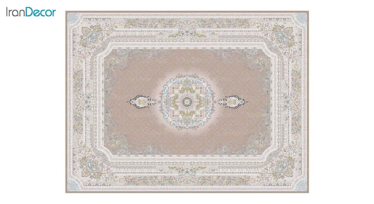 تصویر فرش ماشینی 1200 شانه گل برجسته کشمیر طرح میلانو نسکافه ای