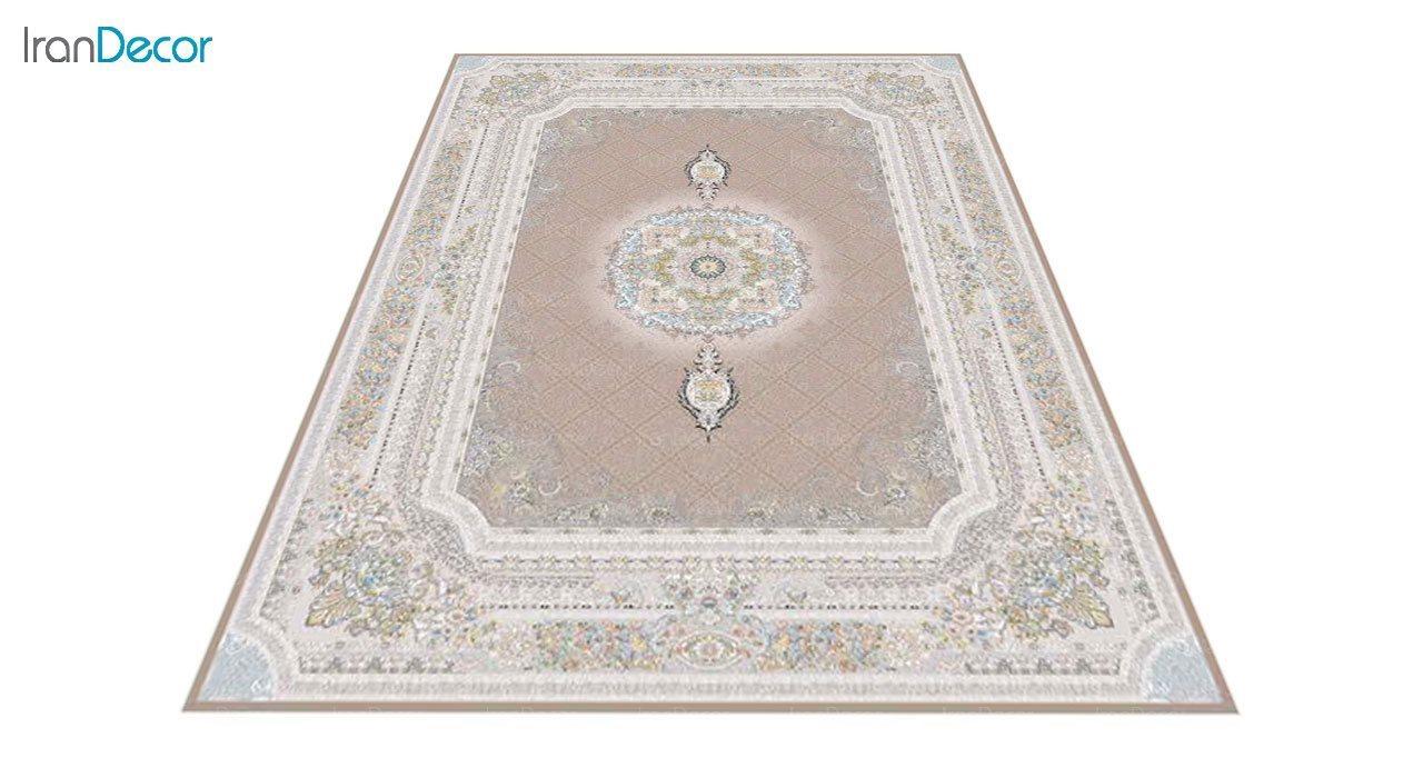 عکس فرش ماشینی 1200 شانه گل برجسته کشمیر طرح میلانو نسکافه ای