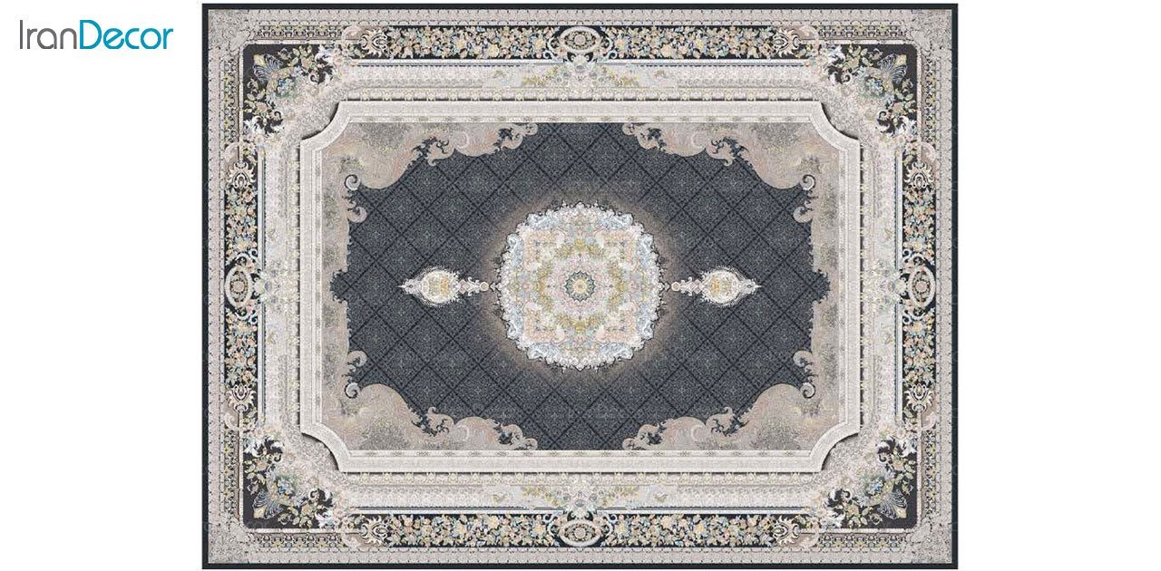 تصویر فرش ماشینی 1200 شانه گل برجسته کشمیر طرح میلانو زغالی