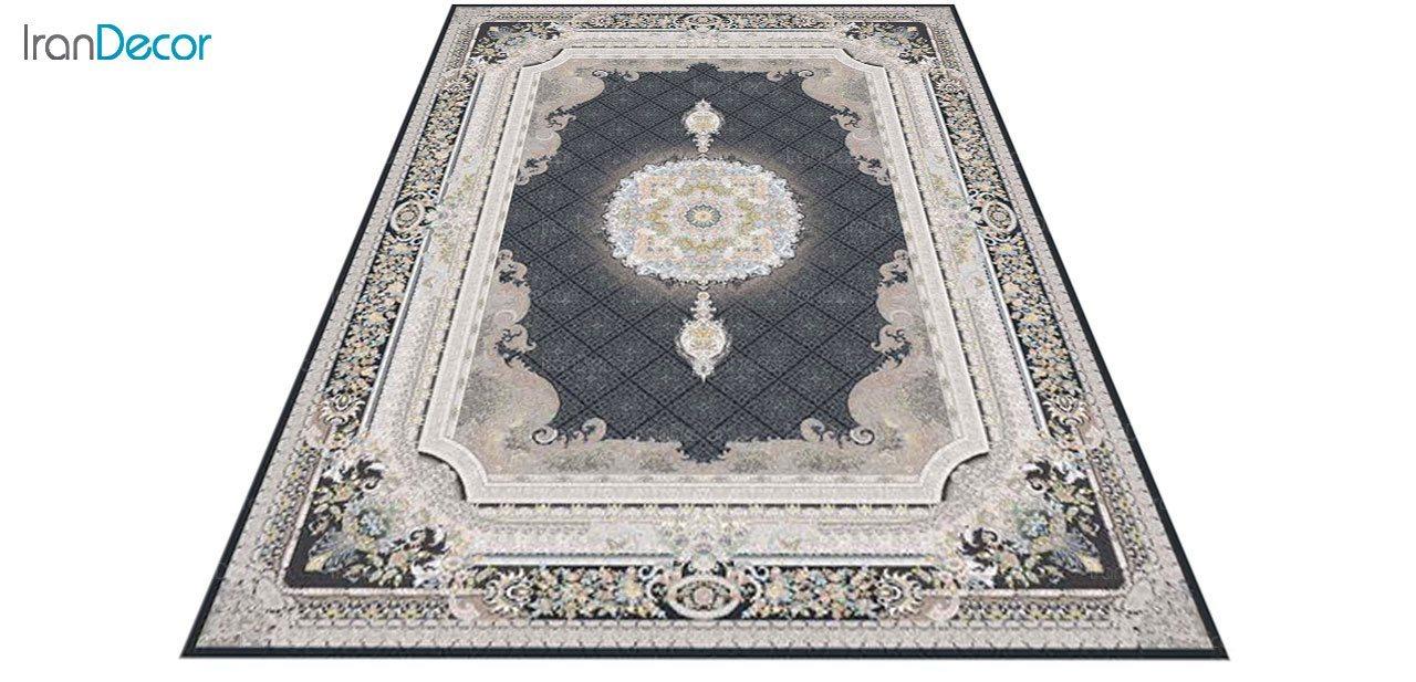 عکس فرش ماشینی 1200 شانه گل برجسته کشمیر طرح میلانو زغالی
