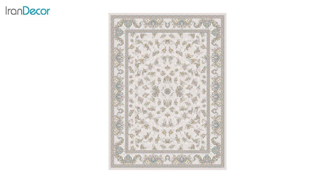 تصویر فرش ماشینی 1200 شانه گل برجسته کشمیر طرح صنم بژ