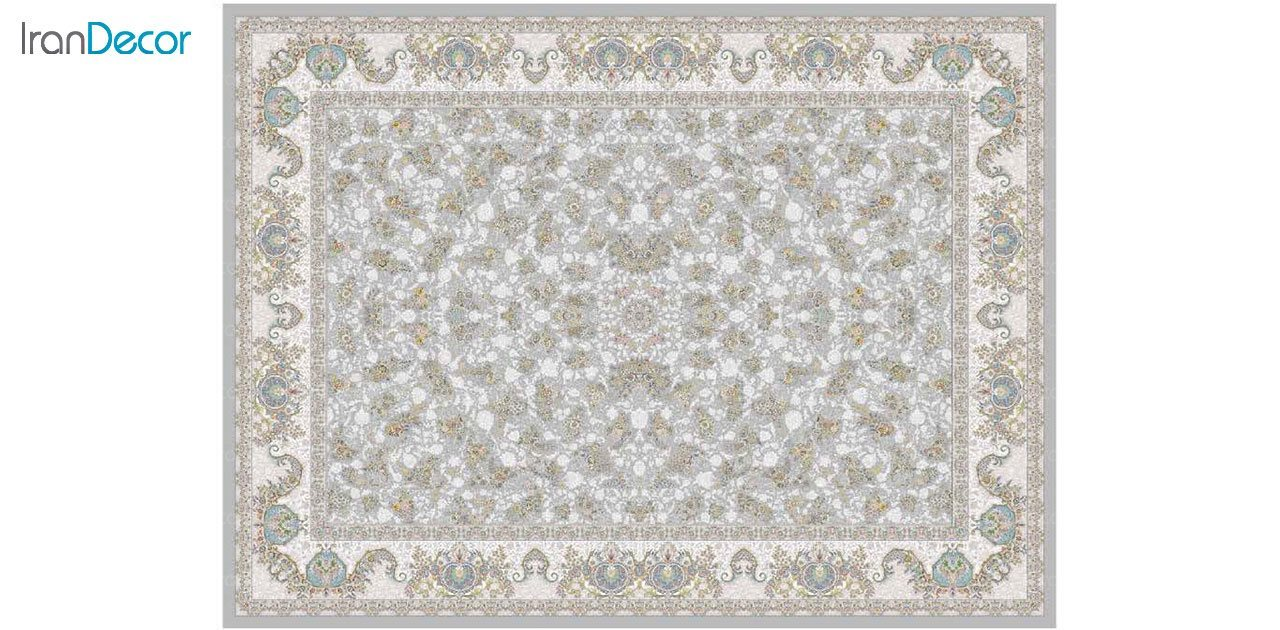 تصویر فرش ماشینی 1200 شانه گل برجسته کشمیر طرح صنم نقره ای