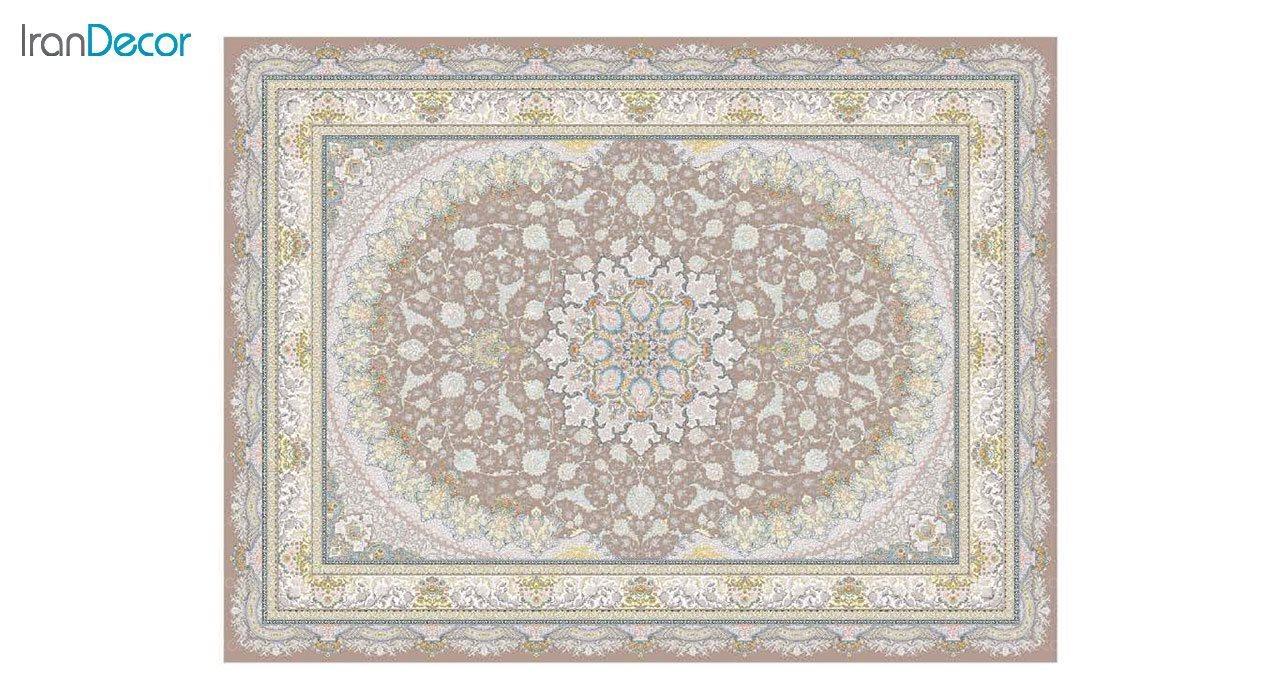 تصویر فرش ماشینی 1200 شانه گل برجسته کشمیر طرح سایه نسکافه ای