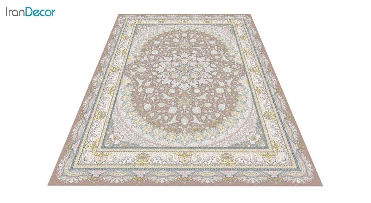 عکس فرش ماشینی 1200 شانه گل برجسته کشمیر طرح سایه نسکافه ای
