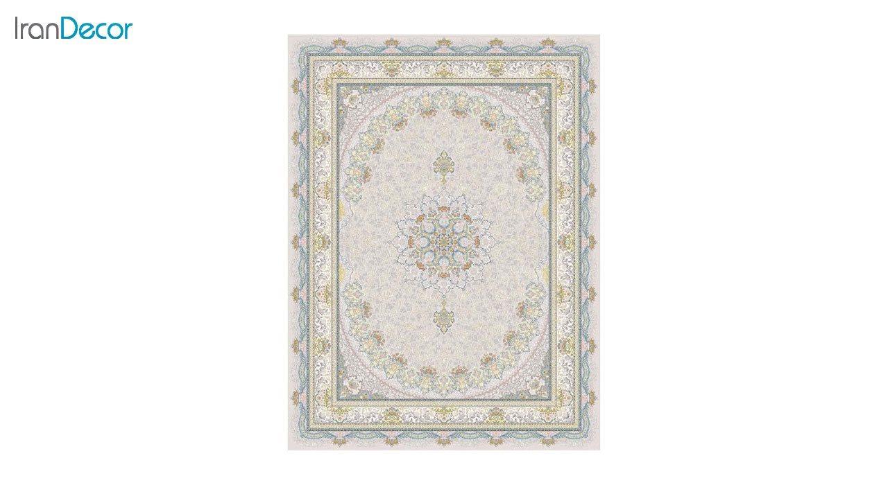 تصویر فرش ماشینی 1200 شانه گل برجسته کشمیر طرح سایه بژ