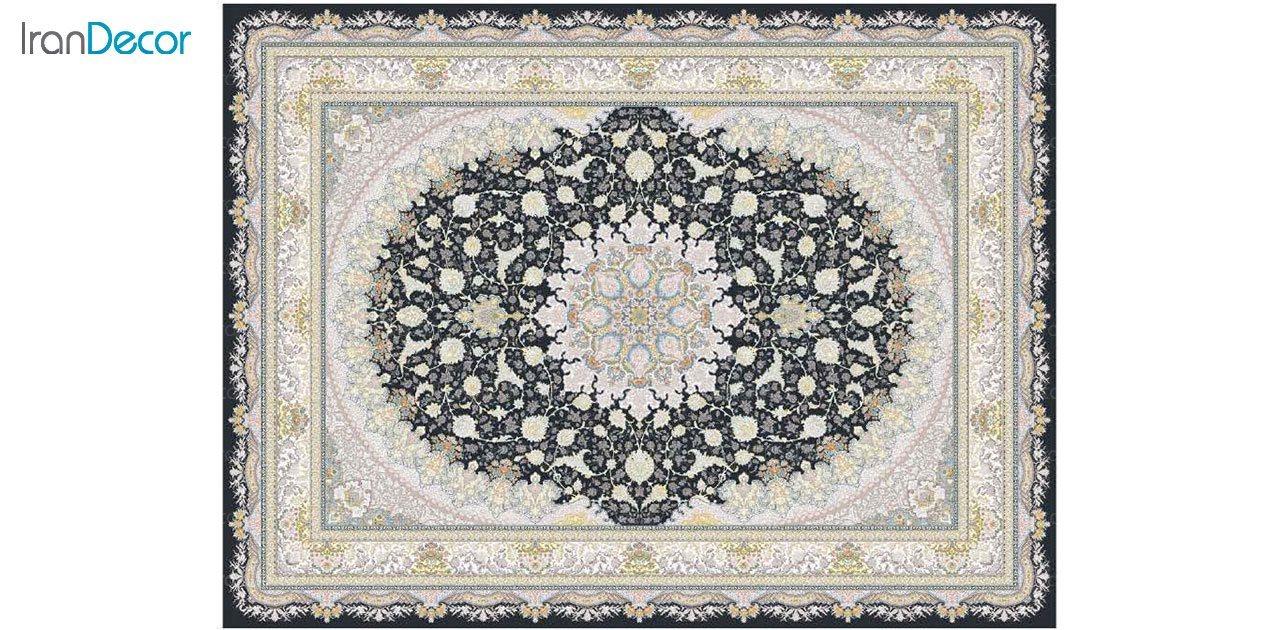 تصویر فرش ماشینی 1200 شانه گل برجسته کشمیر طرح سایه زغالی