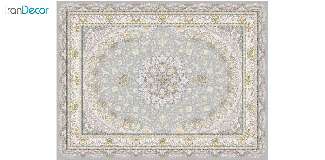 تصویر فرش ماشینی 1200 شانه گل برجسته کشمیر طرح سایه نقره ای
