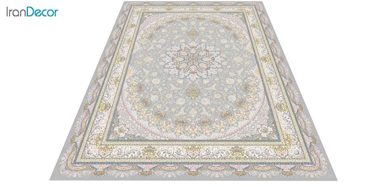 عکس فرش ماشینی 1200 شانه گل برجسته کشمیر طرح سایه نقره ای