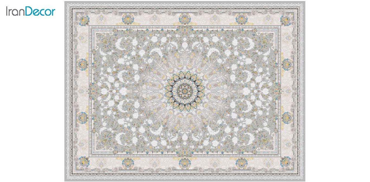 تصویر فرش ماشینی 1200 شانه گل برجسته کشمیر طرح نیاز نقره ای