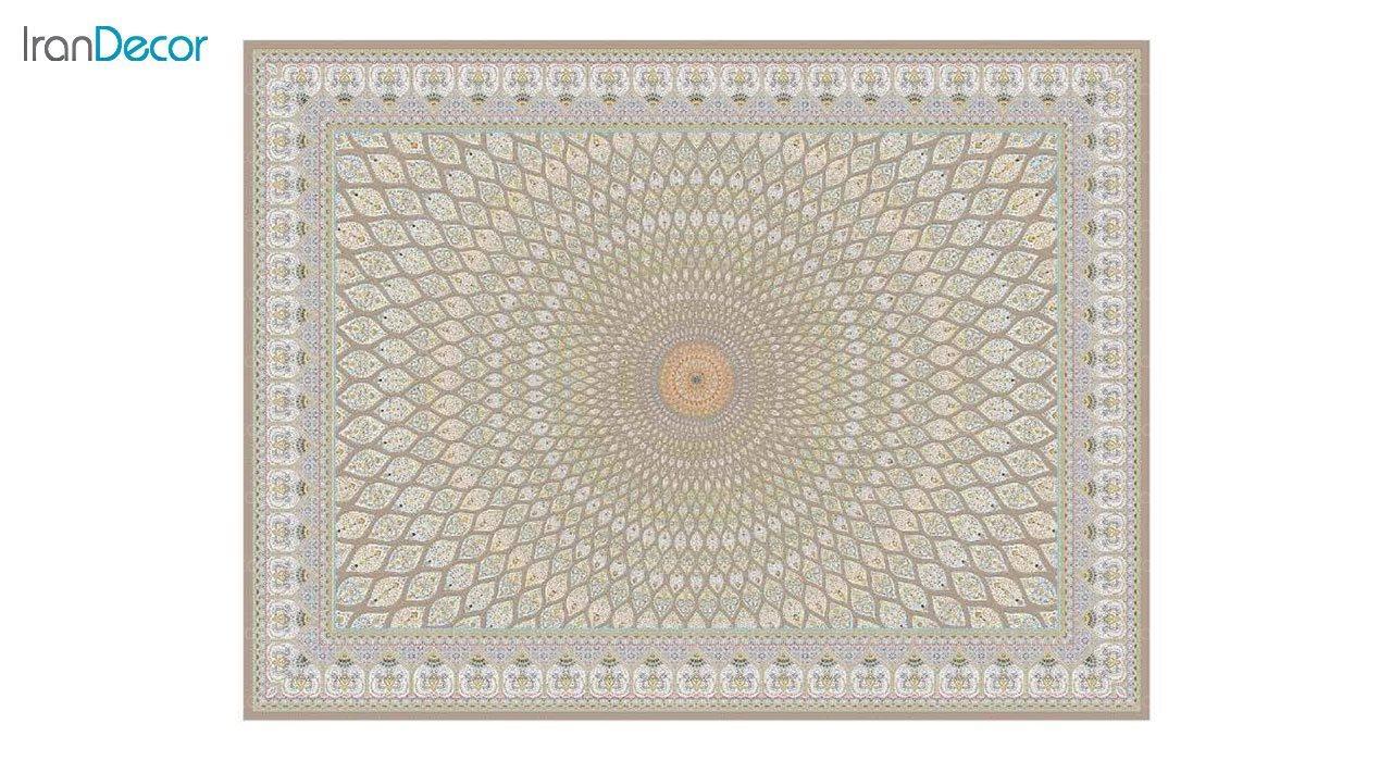 تصویر فرش ماشینی 1200 شانه گل برجسته کشمیر طرح گنبد نسکافه ای