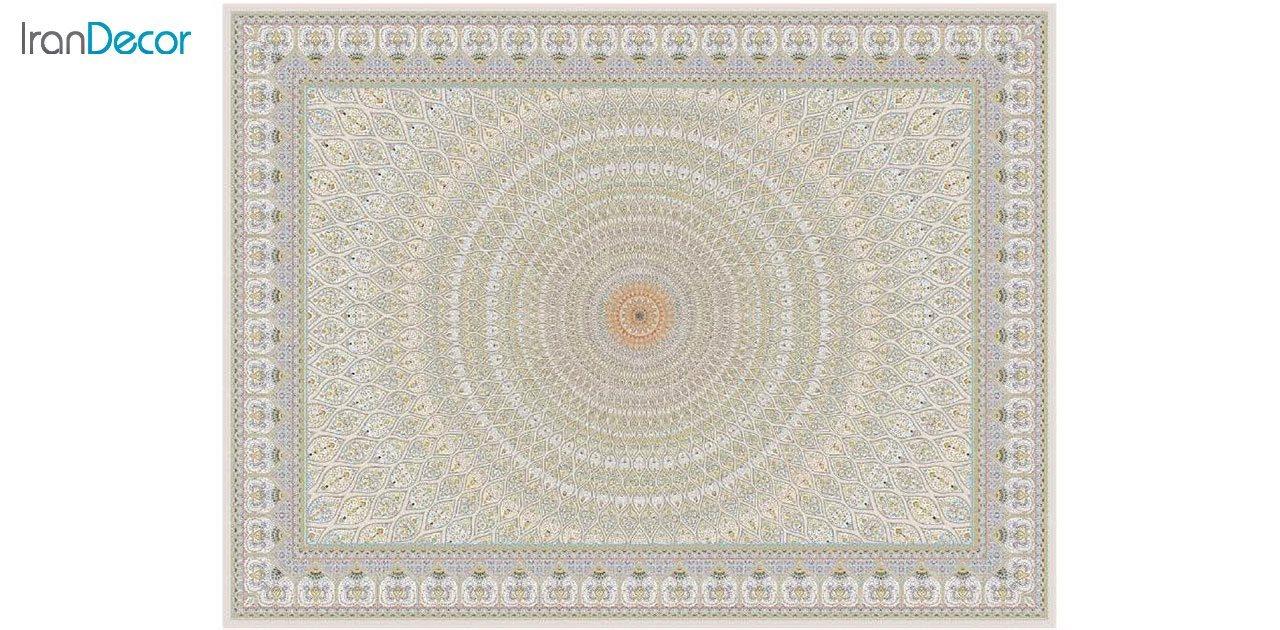 تصویر فرش ماشینی 1200 شانه گل برجسته کشمیر طرح گنبد بژ
