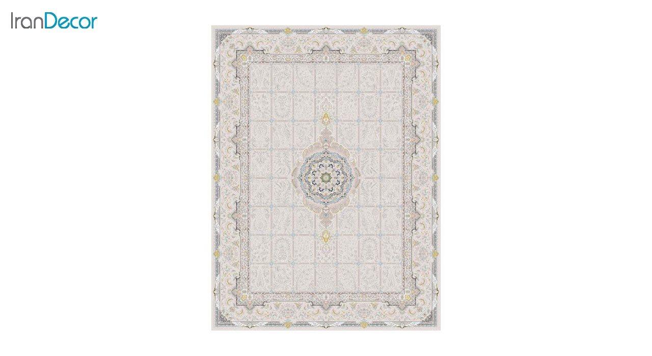 تصویر فرش ماشینی 1200 شانه گل برجسته کشمیر طرح بهار بژ