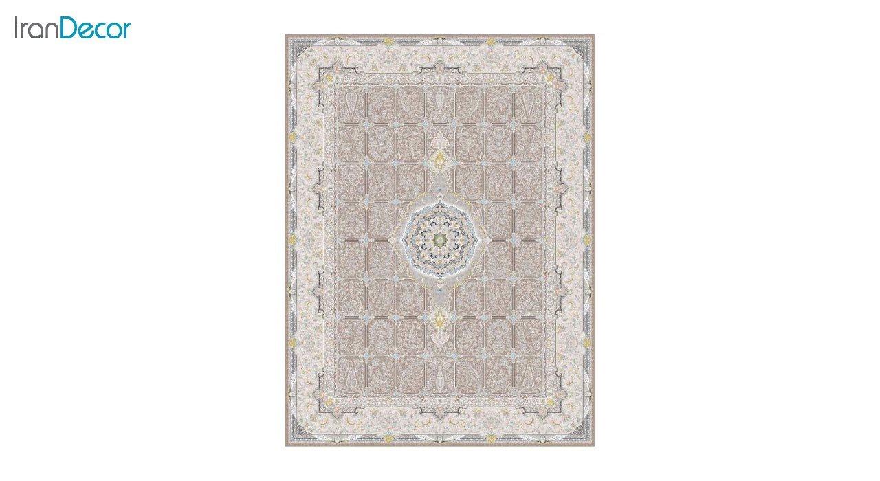 تصویر فرش ماشینی 1200 شانه گل برجسته کشمیر طرح بهار نسکافه ای