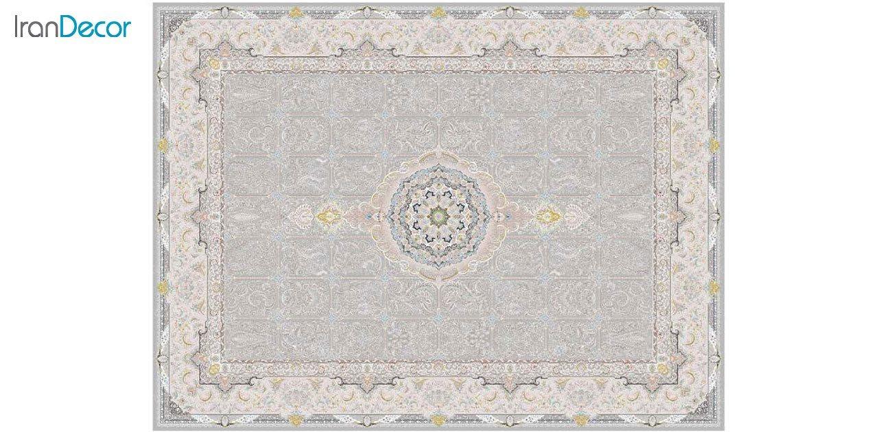 تصویر فرش ماشینی 1200 شانه گل برجسته کشمیر طرح بهار نقره ای