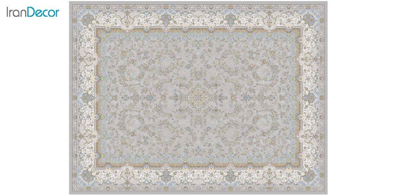 تصویر فرش ماشینی 1200 شانه گل برجسته کشمیر طرح آذرنوش نقره ای