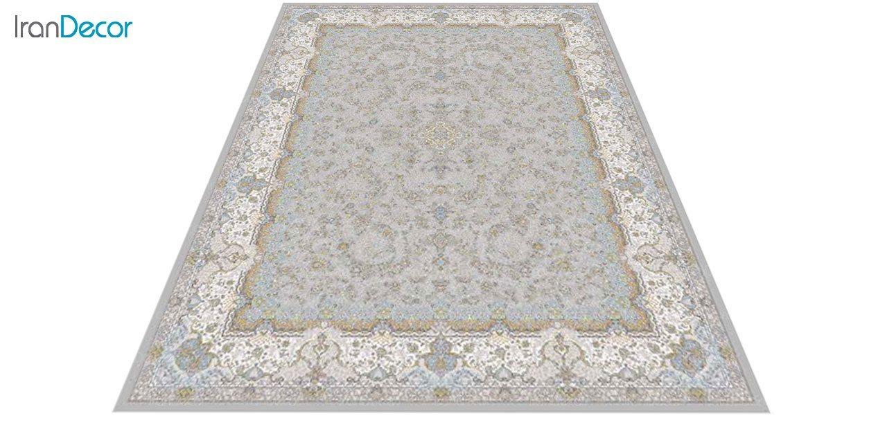 عکس فرش ماشینی 1200 شانه گل برجسته کشمیر طرح آذرنوش نقره ای
