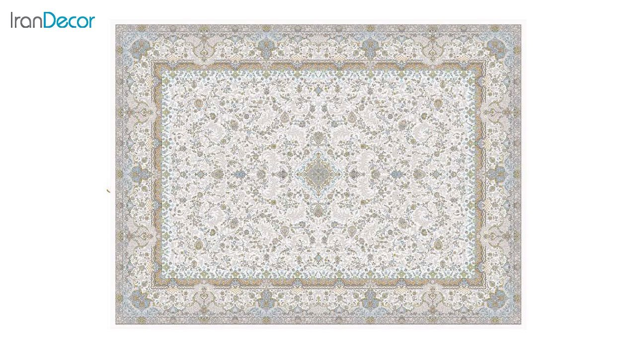 تصویر فرش ماشینی 1200 شانه گل برجسته کشمیر طرح آذرنوش کرم