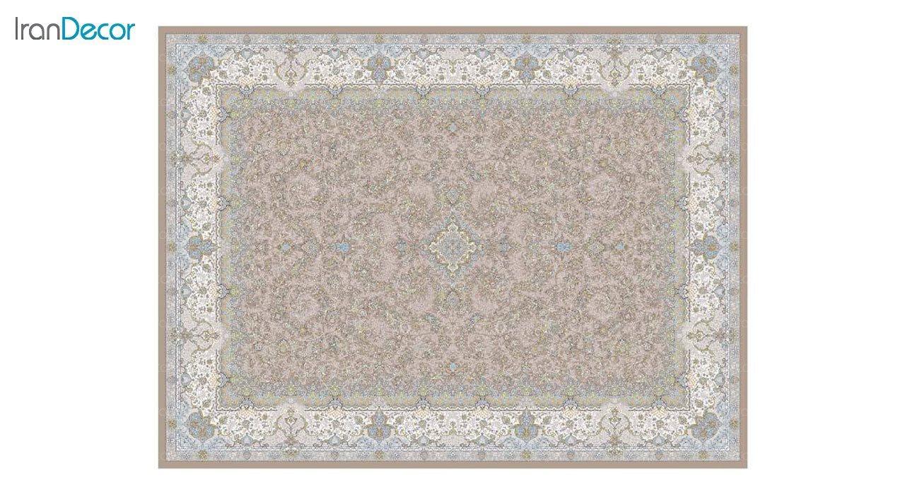 تصویر فرش ماشینی 1200 شانه گل برجسته کشمیر طرح آذرنوش نسکافه ای