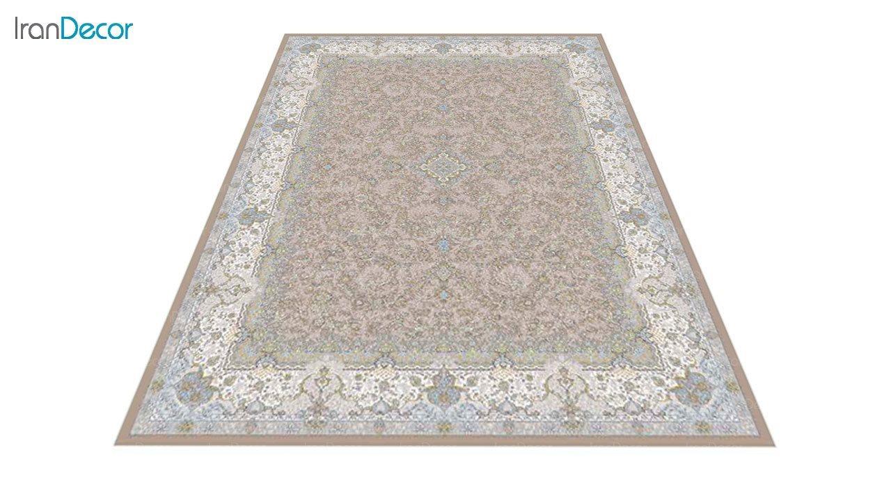 عکس فرش ماشینی 1200 شانه گل برجسته کشمیر طرح آذرنوش نسکافه ای